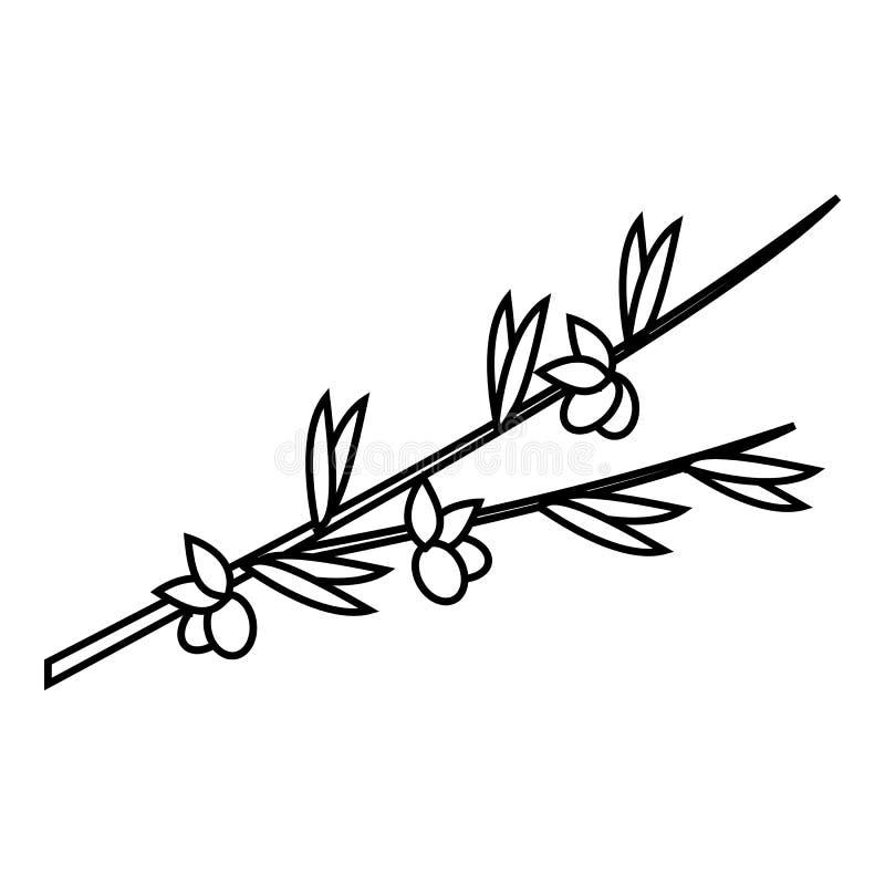 Icono de la rama de olivo, estilo del esquema ilustración del vector
