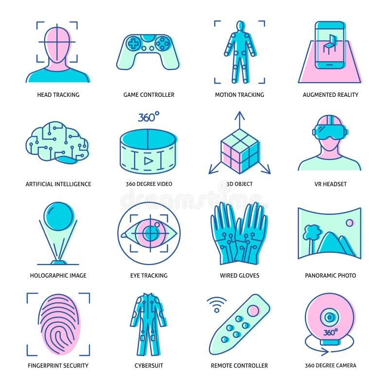 Icono de la realidad virtual fijado en estilo linear coloreado ilustración del vector