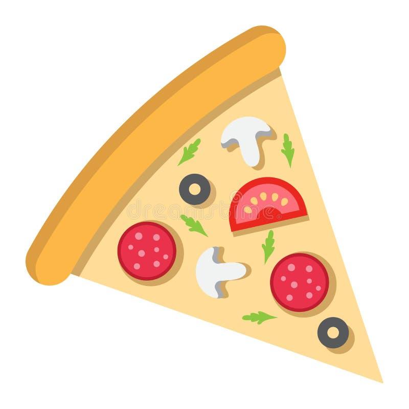 Icono de la rebanada de la pizza, comida y bebida planos, alimentos de preparación rápida ilustración del vector