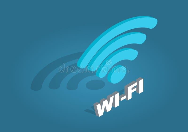 Icono de la red del Wi-Fi Estilo plano de la historieta del diseño stock de ilustración