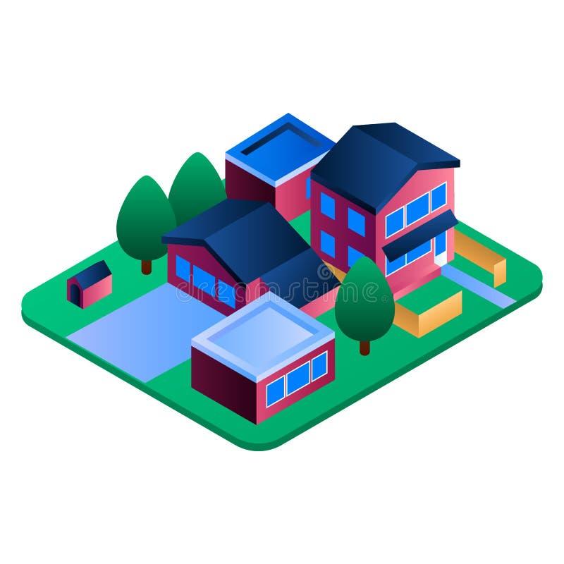 Icono de la región de la residencia de Eco, estilo isométrico ilustración del vector