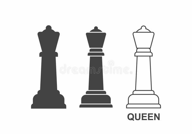 Icono de la reina del ajedrez ilustración del vector