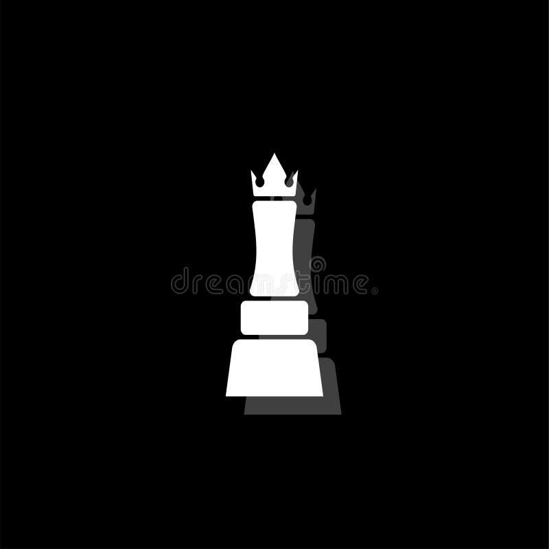 Icono de la reina del ajedrez completamente ilustración del vector