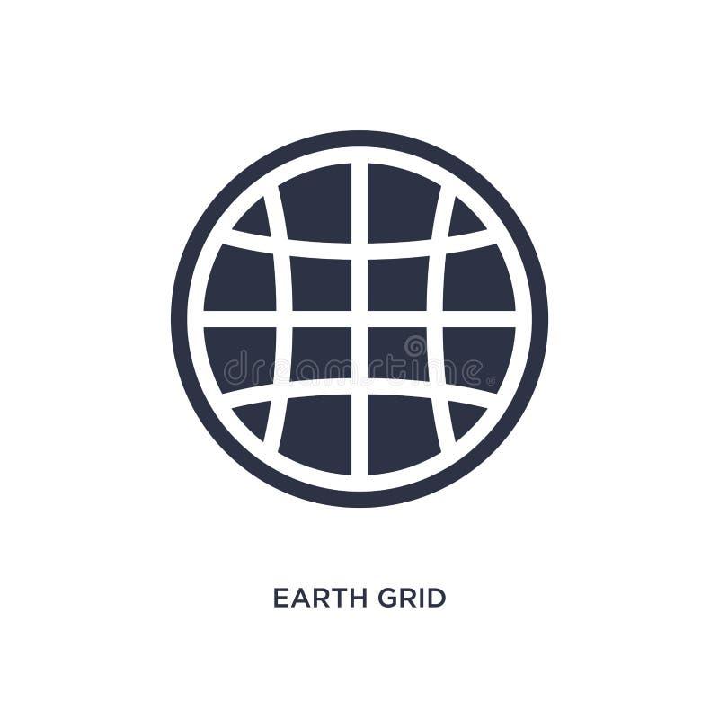 icono de la rejilla de la tierra en el fondo blanco Ejemplo simple del elemento de la entrega y del concepto logístico stock de ilustración