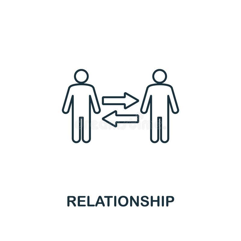 icono de la relación Línea fina símbolo del diseño de la colección de los iconos de la ética empresarial Icono perfecto de la rel ilustración del vector