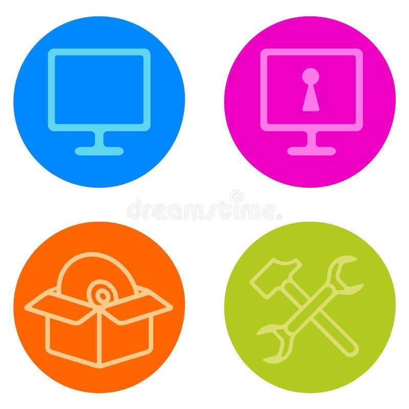 Icono de la reparación del ordenador fijado en la línea estilo stock de ilustración