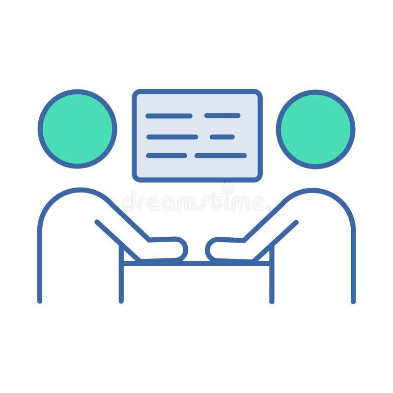 Icono de la reuni?n de negocios s?mbolo del esquema y del diagrama del vector icono plano de la reunión de negocios ilustración del vector