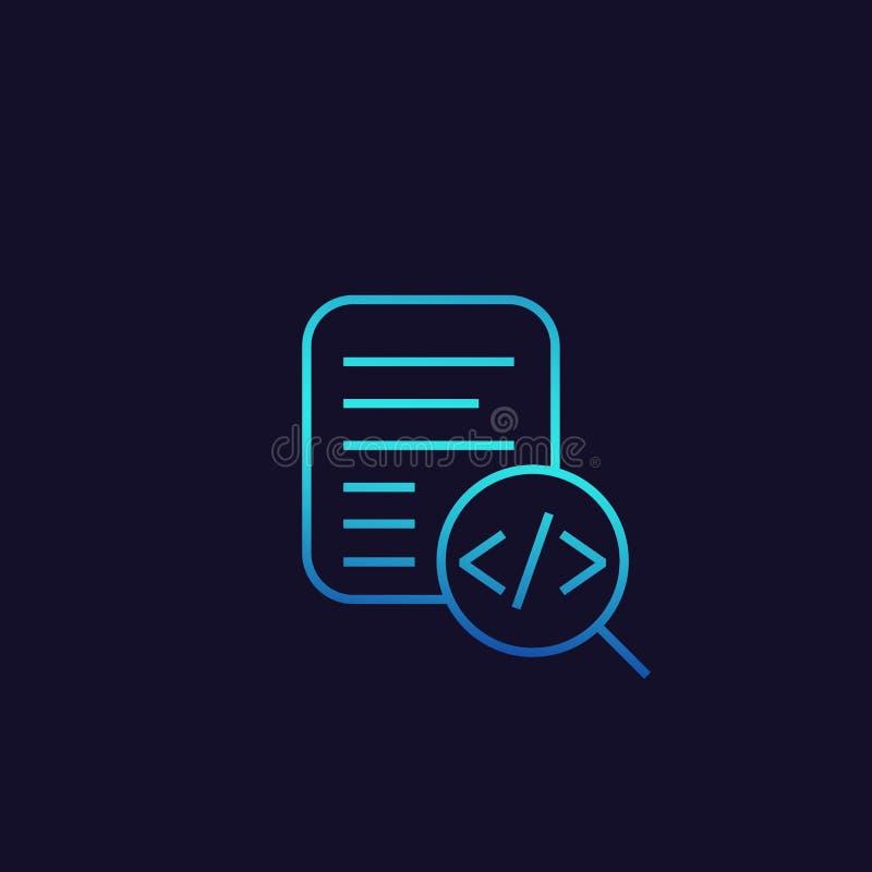 Icono de la revisión del código, linear stock de ilustración