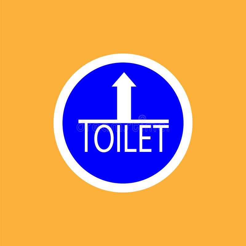 Icono de la ronda de WCtoilet con la flecha, línea fina blanca en el fondo azul - ejemplo del vector ilustración del vector