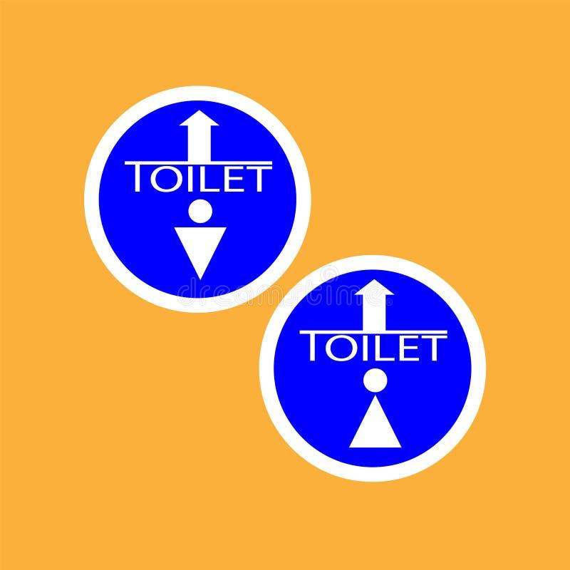 Icono de la ronda de WCtoilet con la flecha, línea fina blanca en fondo azul, hombre y mujer - ejemplo del vector stock de ilustración