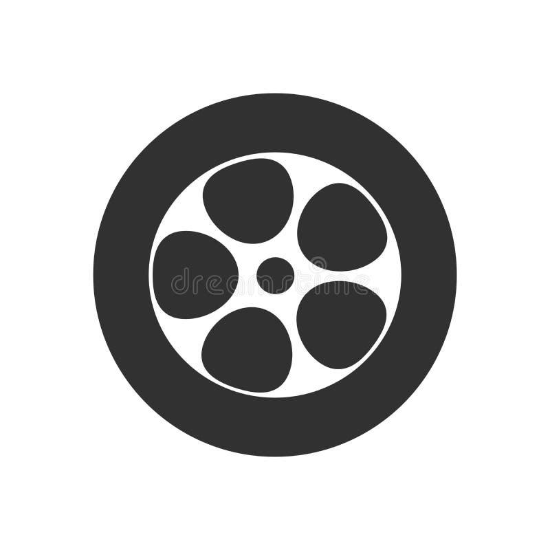 Icono de la rueda de coche aislado en el fondo blanco Silueta del concepto del servicio del neumático, pictograma Garaje del logo stock de ilustración