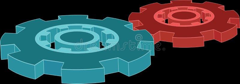 Icono de la rueda de engranaje del vector 3d S?mbolo industrial Aislado ilustración del vector