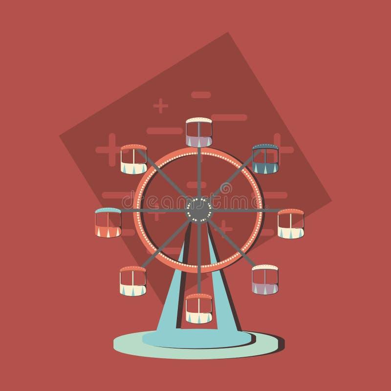 Icono de la rueda de Ferrris stock de ilustración