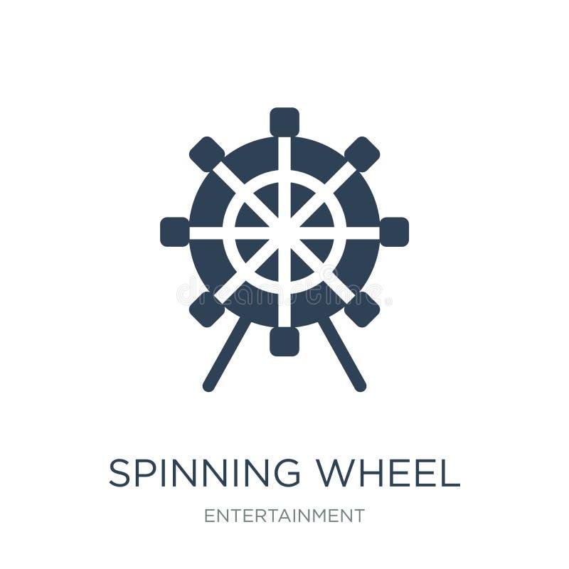 icono de la rueda de hilado en estilo de moda del diseño icono de la rueda de hilado aislado en el fondo blanco icono del vector  stock de ilustración