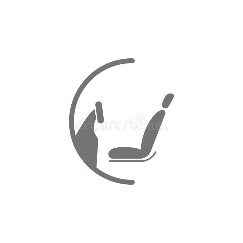 Icono de la rueda y del asiento stock de ilustración