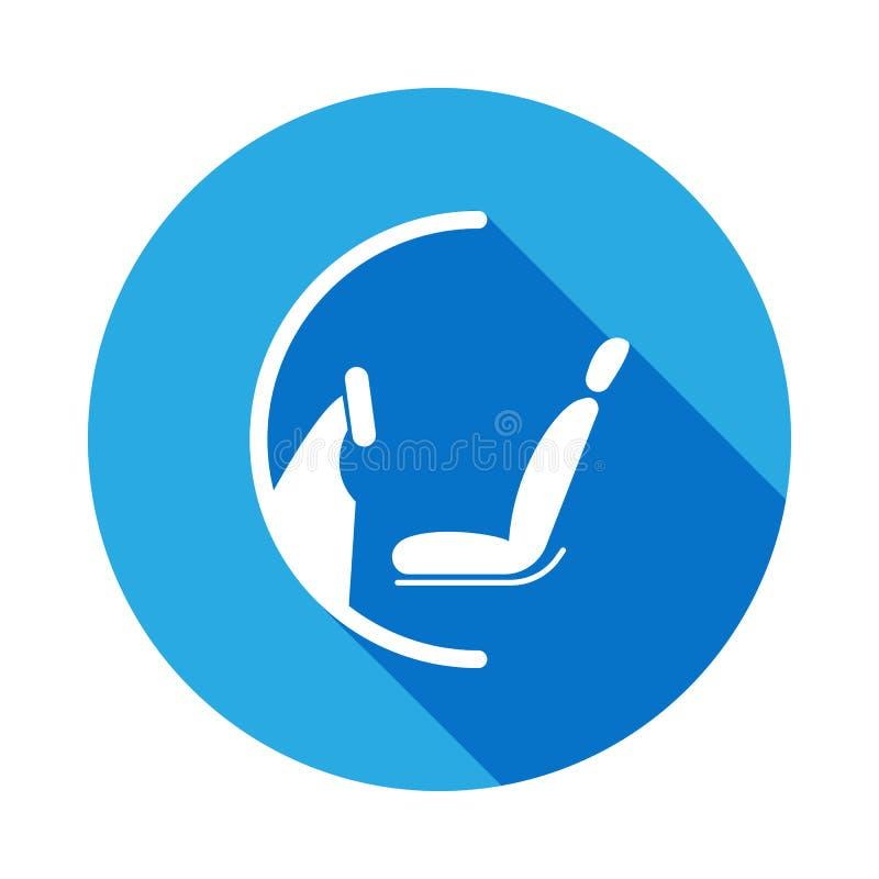 icono de la rueda y del asiento con la sombra larga Elemento del ejemplo de los servicios de reparación del coche Muestras e icon ilustración del vector