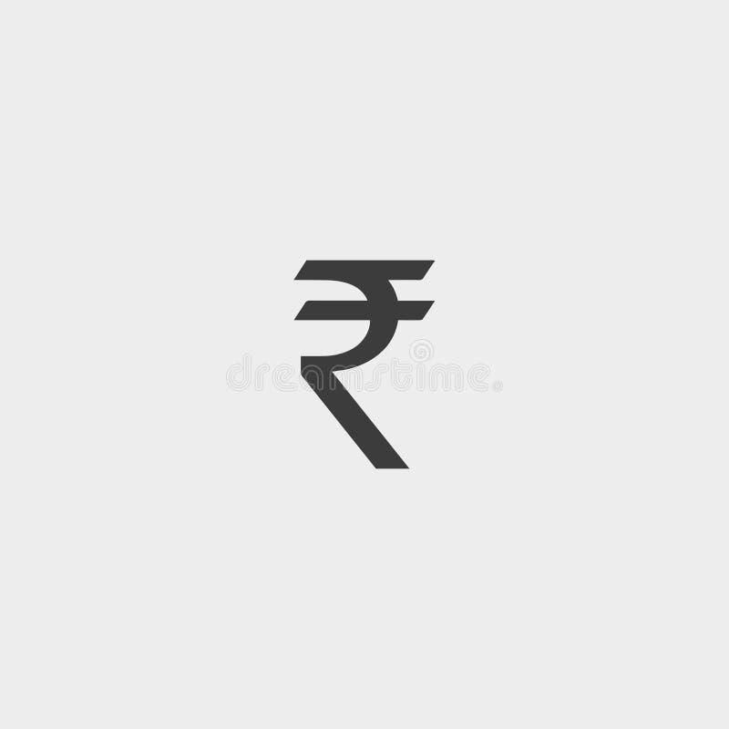Icono de la rupia en un diseño plano en color negro Ilustración EPS10 del vector libre illustration