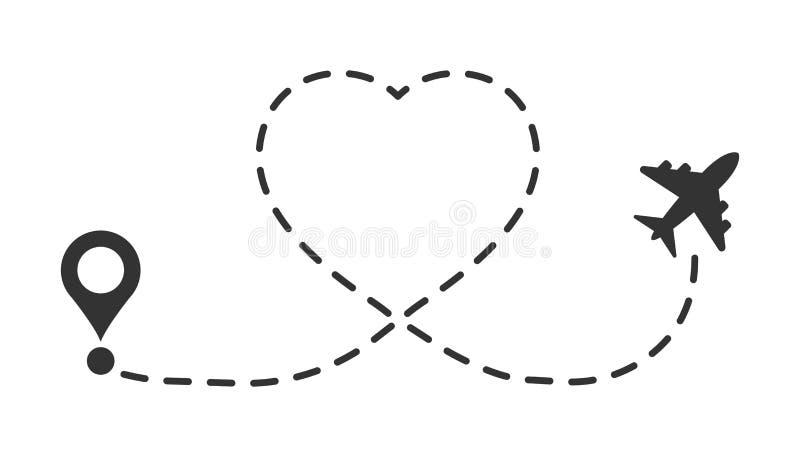 Icono de la ruta del viaje del amor en estilo plano Línea ejemplo del aeroplano del vector de la trayectoria en el fondo aislado  stock de ilustración
