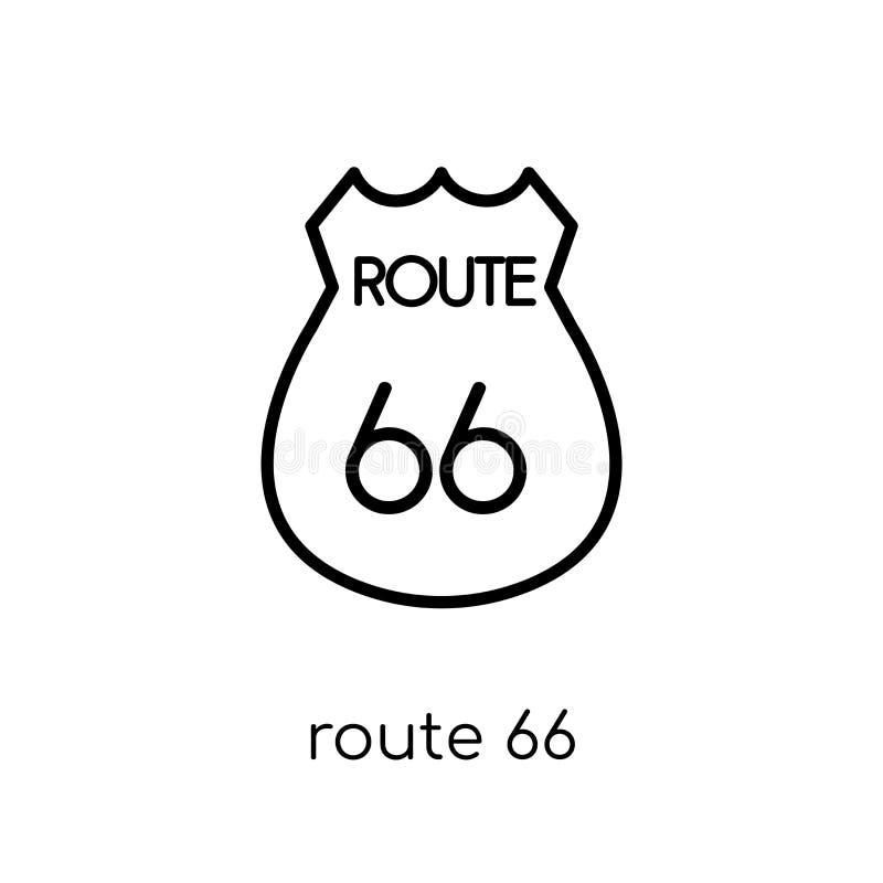 Icono de la ruta 66 Icono linear plano moderno de moda de Route 66 del vector encendido ilustración del vector