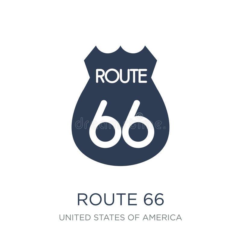 Icono de la ruta 66 Icono plano de moda de Route 66 del vector en el backgro blanco stock de ilustración