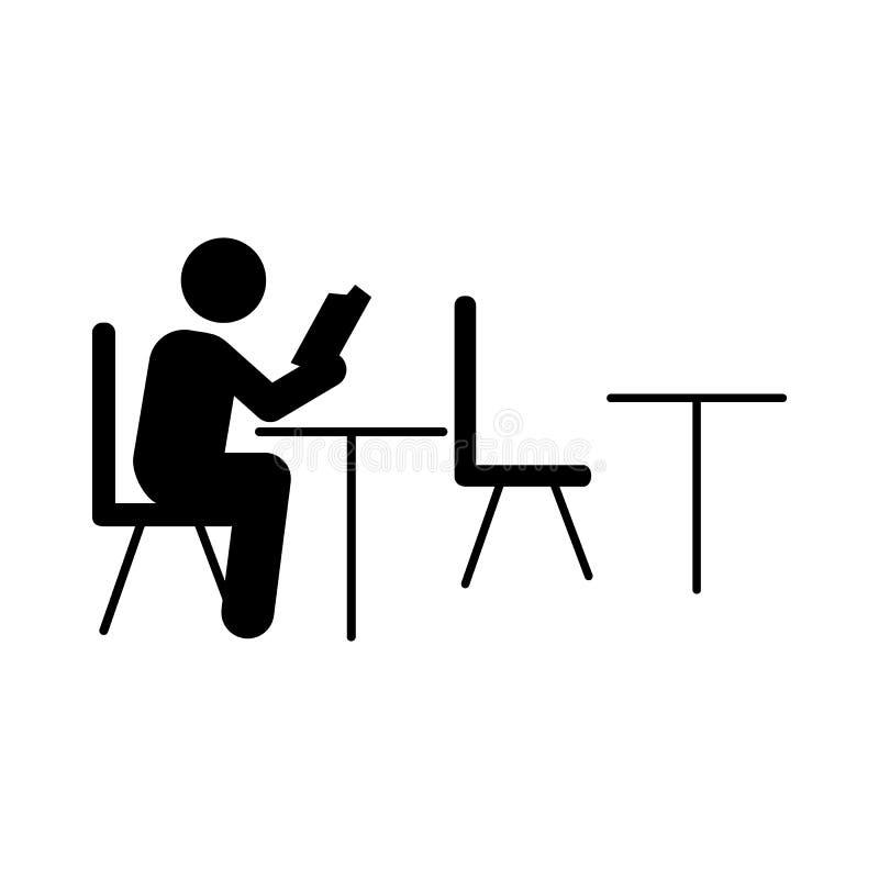 Icono de la sala de clase del libro del estudiante Elemento de nuevo al icono del ejemplo de la escuela Muestras e icono para los stock de ilustración