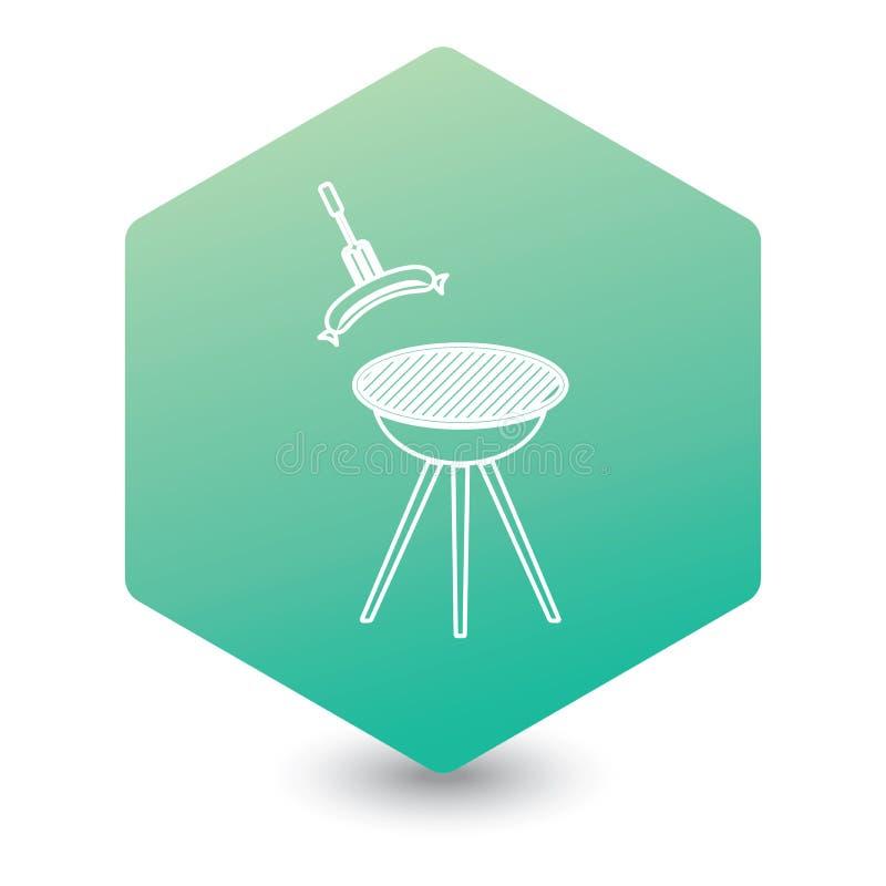 Icono de la salchicha de la barbacoa stock de ilustración