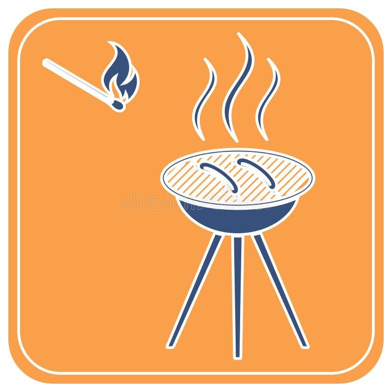 Icono de la salchicha de la barbacoa ilustración del vector