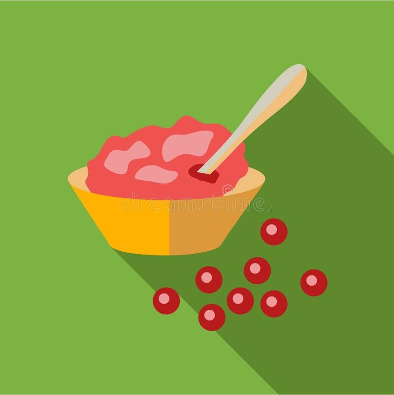 Icono de la salsa de arándano, estilo plano stock de ilustración