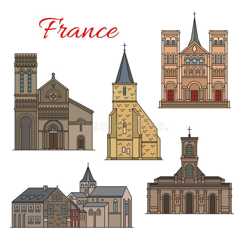 Icono de la señal del viaje del francés de la arquitectura de Havre stock de ilustración