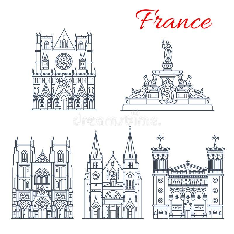 Icono de la señal del viaje del francés de iglesias europeas stock de ilustración