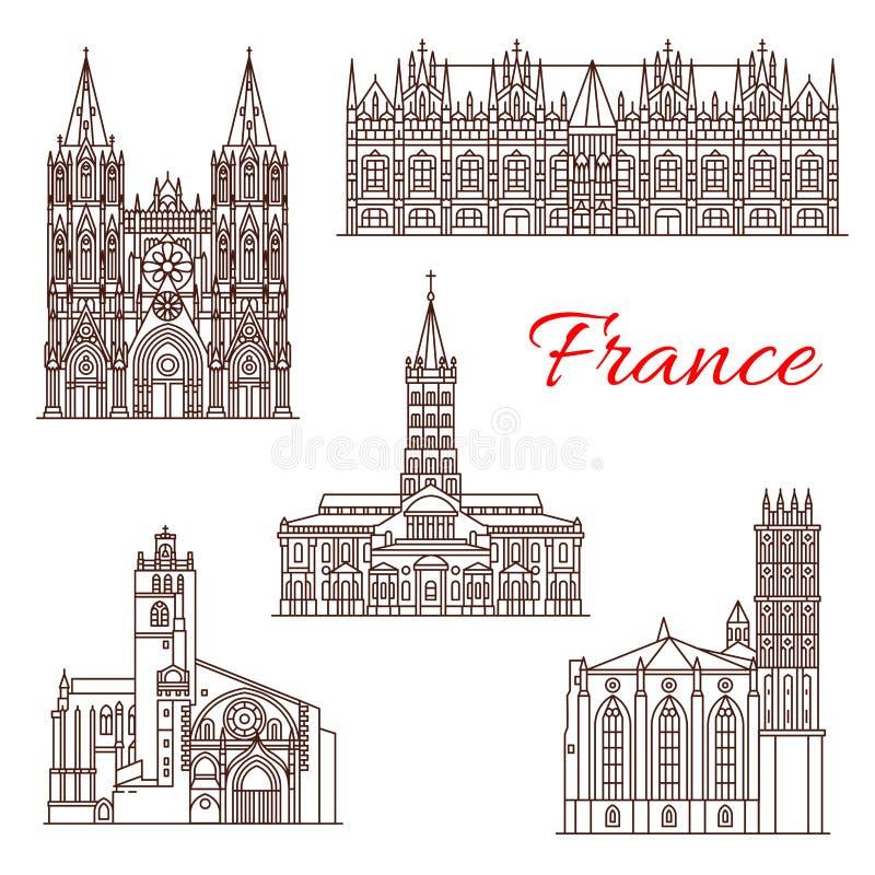Icono de la señal del viaje del francés de las vistas de la arquitectura ilustración del vector