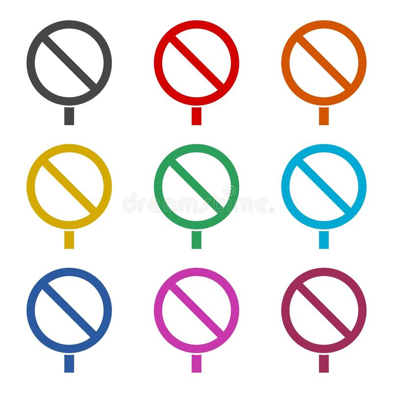 Icono de la señal de tráfico, señal de tráfico en blanco, iconos del color fijados libre illustration