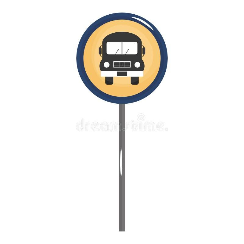 Icono de la señal de tráfico de la parada de autobús ilustración del vector