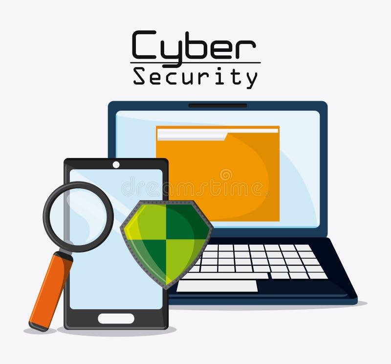 Icono de la seguridad cibernética y de sistema ilustración del vector