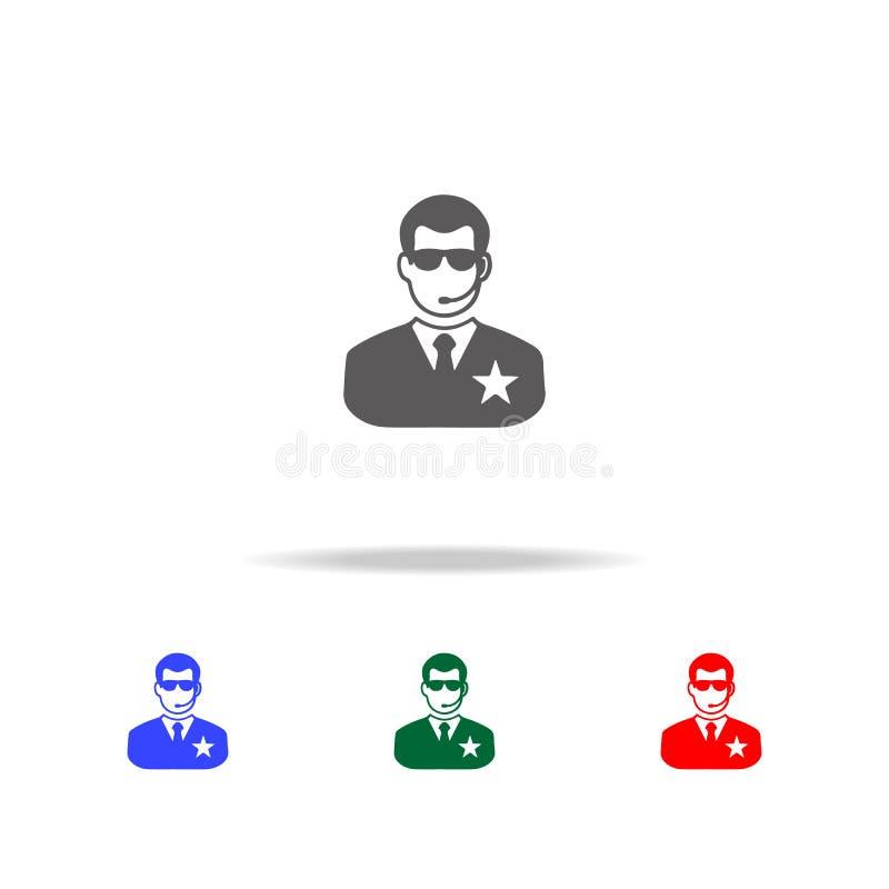 Icono de la seguridad del club de noche Elementos del disco y de los iconos coloreados multi de la vida de noche Icono superior d libre illustration