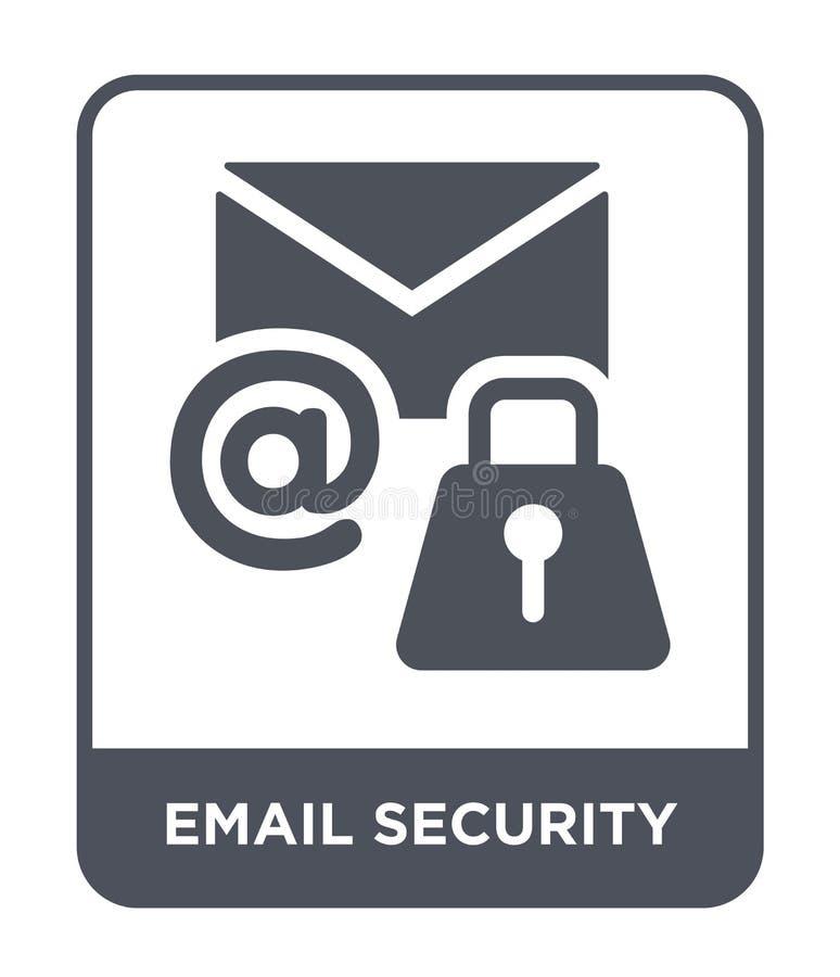 icono de la seguridad del correo electrónico en estilo de moda del diseño icono de la seguridad del correo electrónico aislado en ilustración del vector