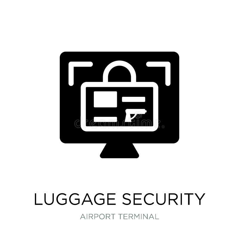 icono de la seguridad del equipaje en estilo de moda del diseño icono de la seguridad del equipaje aislado en el fondo blanco ico ilustración del vector