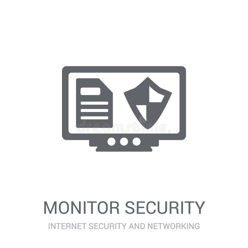 Icono de la seguridad del monitor  ilustración del vector