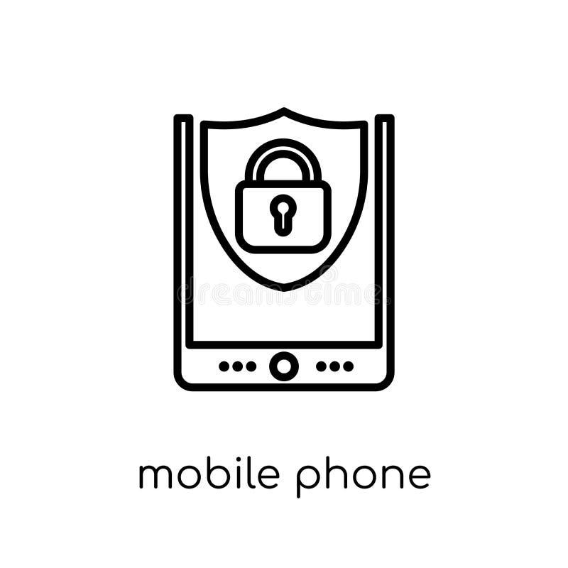 Icono de la seguridad del teléfono móvil Multitud linear plana moderna de moda del vector libre illustration
