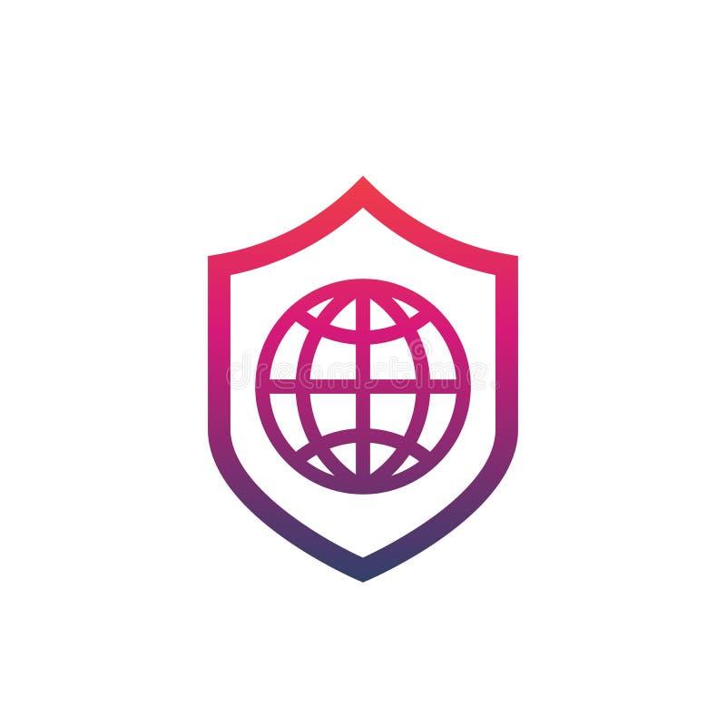 Icono de la seguridad de la red con el escudo y el globo stock de ilustración