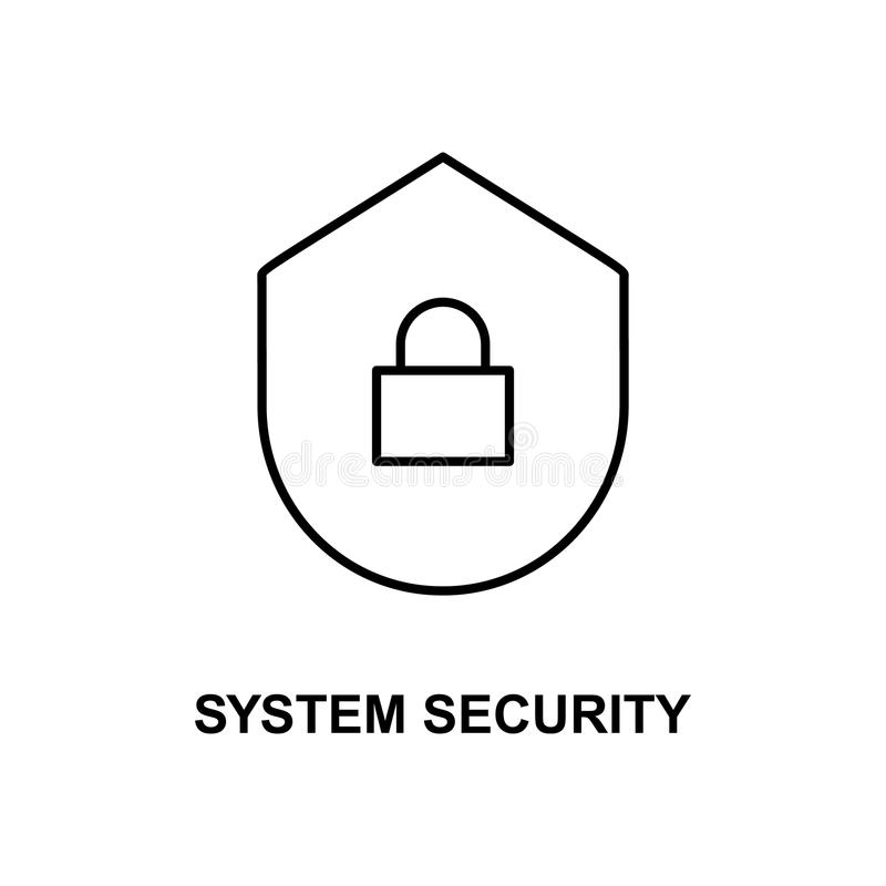 icono de la seguridad de sistema Elemento del icono de las tecnologías con el nombre para los apps móviles del concepto y del web stock de ilustración