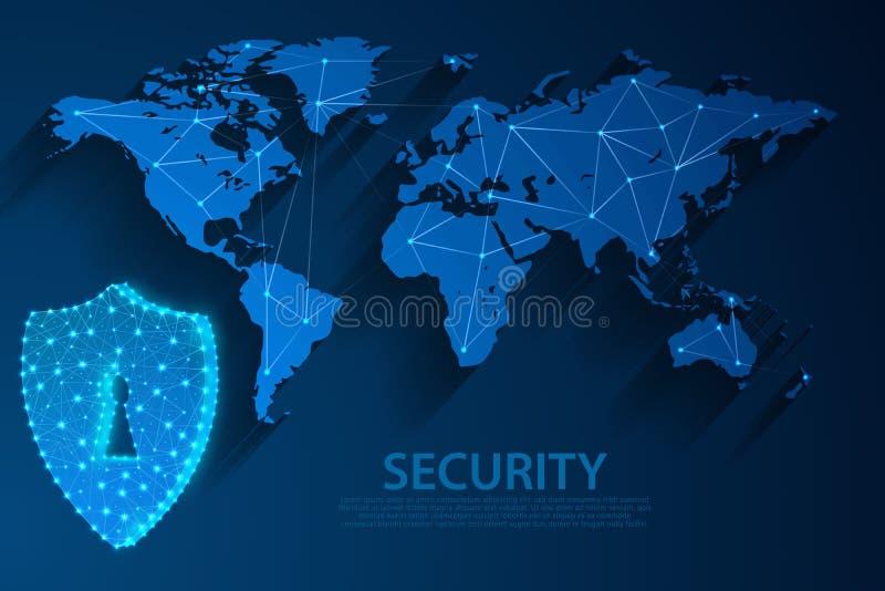 Icono de la seguridad y fondo azul con el mapa del mundo, vector de la tecnología de red libre illustration