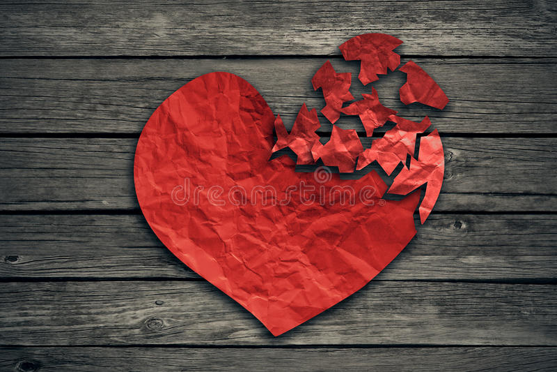 Icono de la separación y del divorcio del concepto de la desintegración del corazón quebrado
