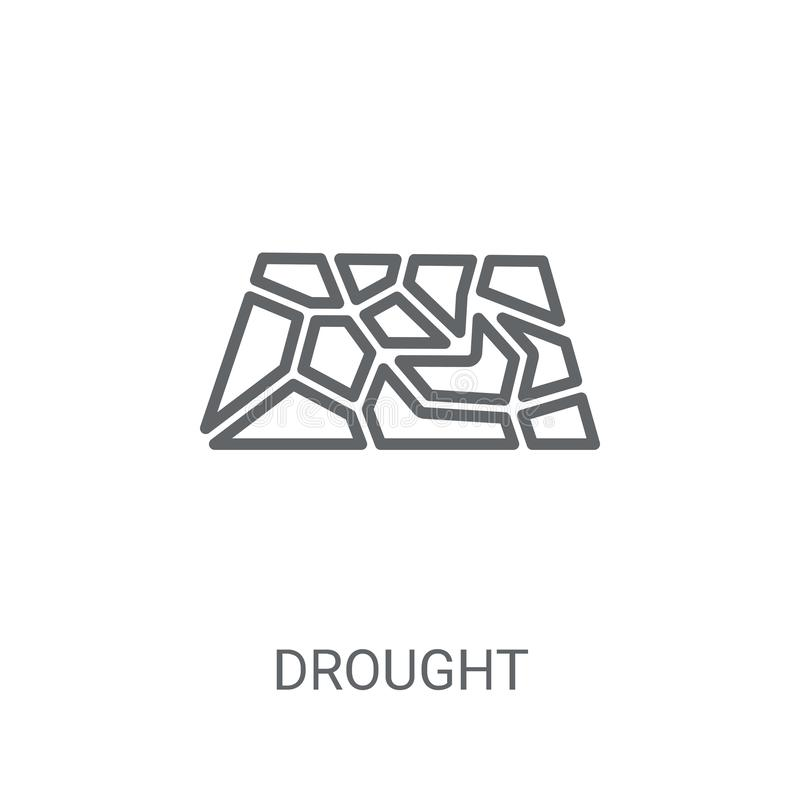 Icono de la sequía Concepto de moda del logotipo de la sequía en el fondo blanco franco stock de ilustración