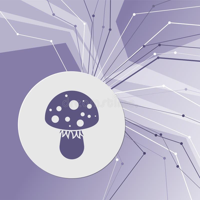 Icono de la seta del agárico de mosca en fondo moderno abstracto púrpura Las líneas en todas las direcciones Con el sitio para su ilustración del vector