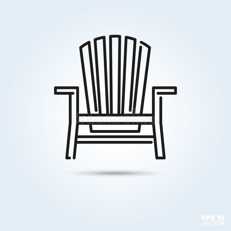 Icono de la silla de cubierta de Adirondack stock de ilustración