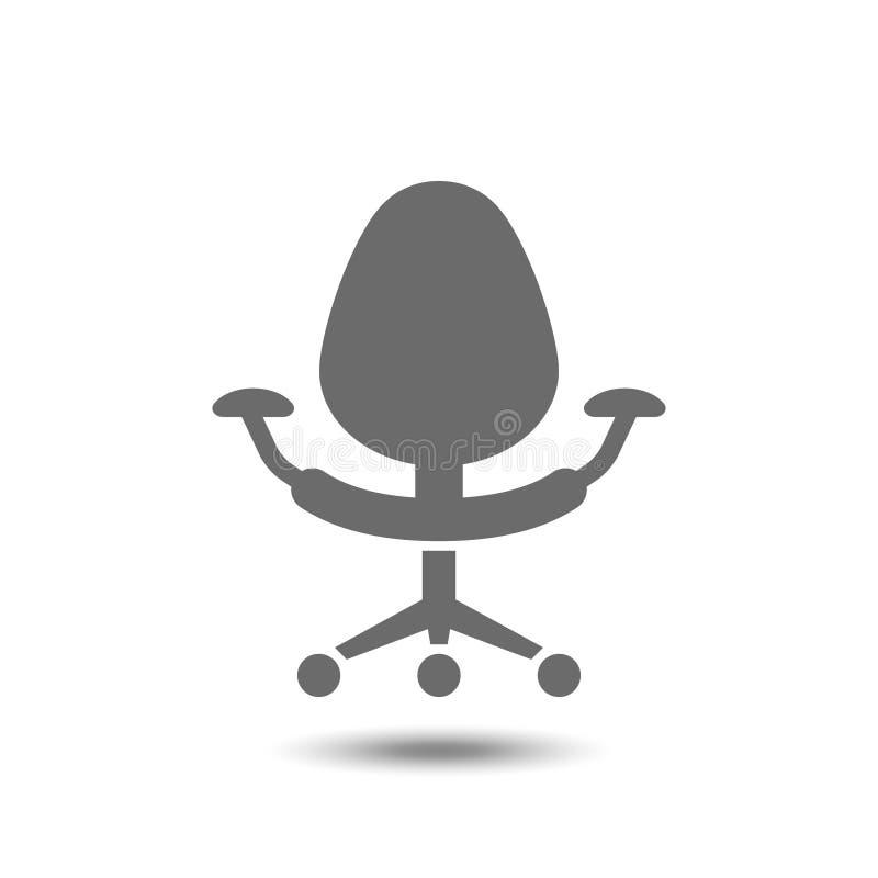 Icono de la silla de la oficina aislado en el fondo blanco stock de ilustración