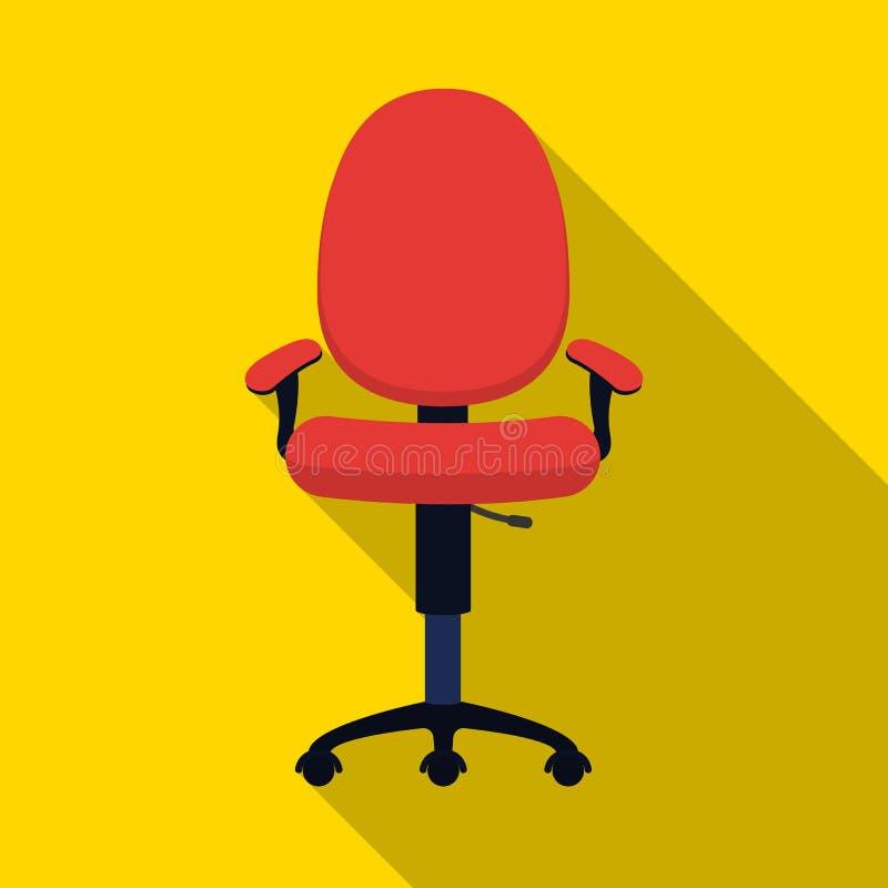 Icono de la silla de la oficina en estilo plano aislado en el fondo blanco Muebles de oficinas y vector interior de la acción del stock de ilustración