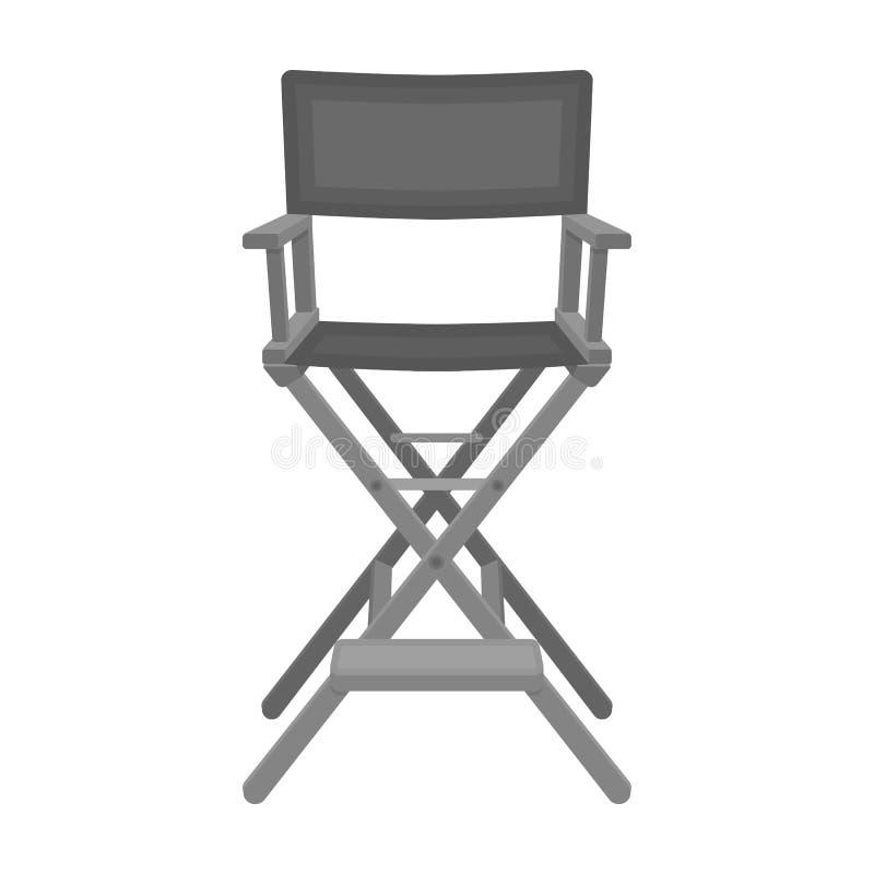 Icono de la silla de los directores en estilo monocromático aislado en el fondo blanco Películas y vector de la acción del símbol ilustración del vector