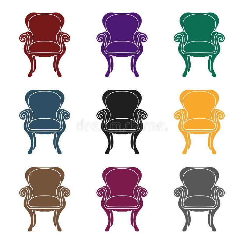 Icono de la silla del ala-detrás en estilo negro aislado en el fondo blanco Vector interior de la acción del símbolo de los muebl ilustración del vector